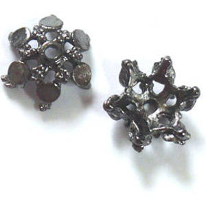 Gunmetal Bead Cap, cast. 12mm, star shape with flat dot design