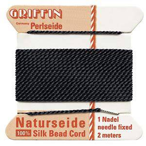 NEW! Griffin Silk Cord - Black - size 12 (0.98mm)