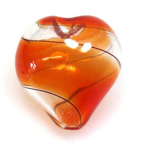 Chinese Blown Glass, Red, Black, Clear heart