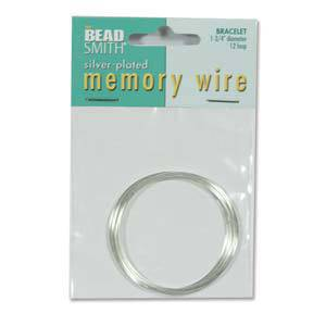 "Memory Wire, Small (1.75"") Bracelet - bright silver: 12 coil pack"