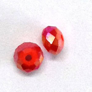 Chinese Crystal, 6mm rhondelle - Light Siam Opaque AB
