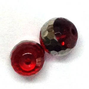 Chinese Crystal, 8mm round - Siam with silver stripe