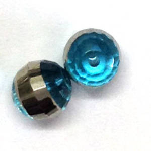 Chinese Crystal, 10mm round - Indicolite with silver stripe