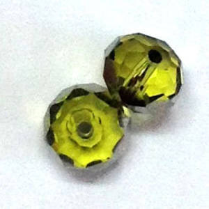 Chinese Crystal, 8mm rhondelle - Olivine with silver stripe