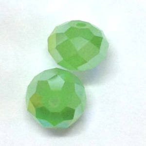 Chinese Crystal, 12mm rhondelle, Milky Light Green