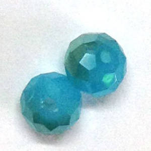 Chinese Crystal, 8mm rhondelle - Opaque Aqua, grey ab