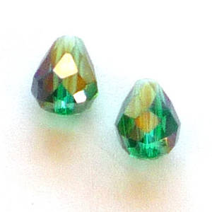 Chinese Crystal, 6mm x 8mm drop, Emerald AB