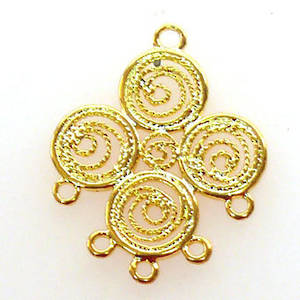 Gold Chandelier Top, Fine Filigree Circles with 5 bottom loops