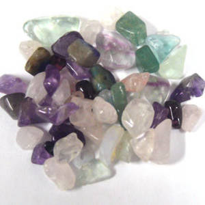Semi-Precious Chip Mix - Rainbow Flourite, Rose Quartz, Greens (small tube)