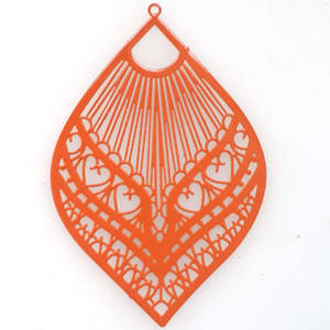 Tin Charm: Orange filigree leaf  (39 x 59mm)