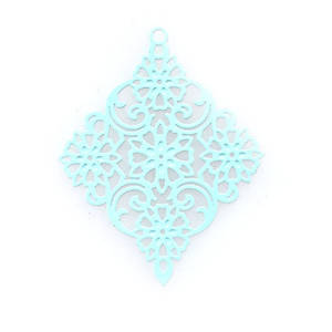 Tin Charm: Light aqua filigree diamond (30 x 38mm)