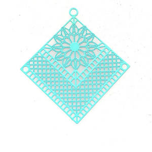 Tin Charm: Aqua filigree fan diamond (38 x 40mm)