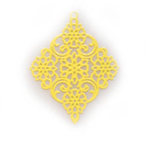 Tin Charm: Yellow filigree diamond (30 x 38mm)