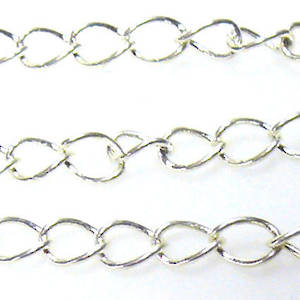 Thin Medium Curbed Chain: Bright Silver (5mm)