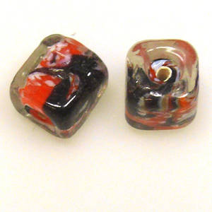 Indian Lampwork, Orange/Black/Clear Cube