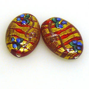 Czech Lampwork Flat Oval, Red and Gold with blue flowers