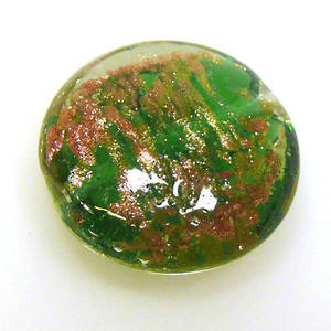 Chinese Lampwork Cushion, Transparent Green with gold markings