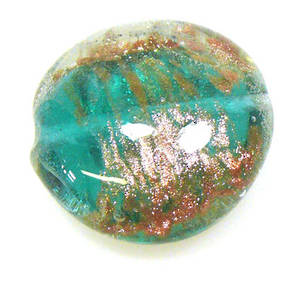 Chinese Lampwork Cushion, Transparent Emerald with gold markings