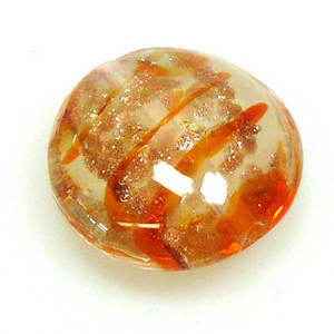 Chinese Lampwork Cushion, Transparent Orange and Clear with gold markings
