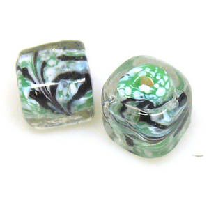 Indian Lampwork, Green/White/Black/Clear Cube