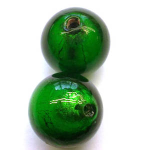 Chinese lampwork ball, mid green with silver foil