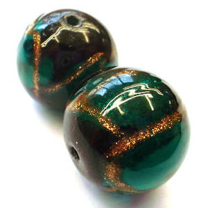 Chinese lampwork ball, dark emerald with gold/black markings