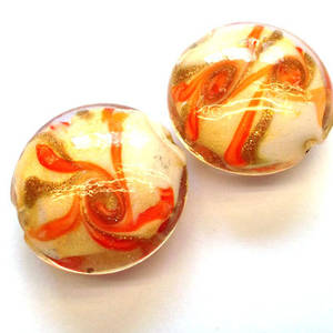 Chinese lampwork cushion, orange/gold/cream swirl design