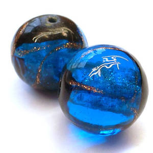 Chinese lampwork ball, blue with gold/black markings VERY LIMITED STOCK