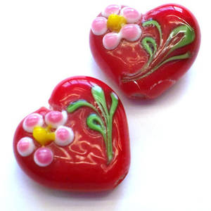 Chinese lampwork heart, opaque red with pink flower