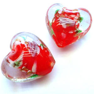 Chinese lampwork heart, clear with red core and pink flowers