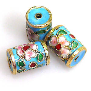 Cloisonne Bead, Barrel 14mm x 10mm. Black with floral decoration.