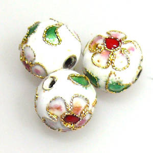 Cloisonne Bead, 10mm round, White with floral decoration