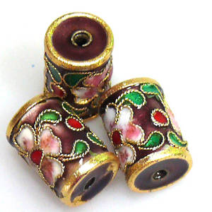 Cloisonne Bead, Barrel 14mm x 10mm. Purple with floral decoration.