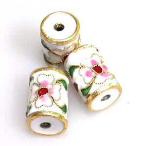 Cloisonne Bead, Barrel 14mm x 10mm. White with floral decoration.