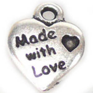 Metal Charm: 'Made with Love' heart - silver