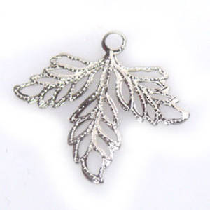 Metal Charm, thin autumn leaf