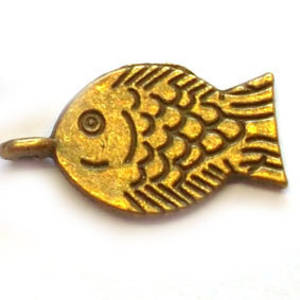 Metal Charm: Fish - brass
