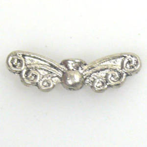 Metal Charm: Wing Bead with curl design - antique silver