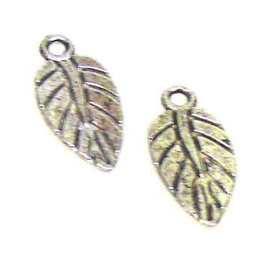Metal Charm, feather like leaf
