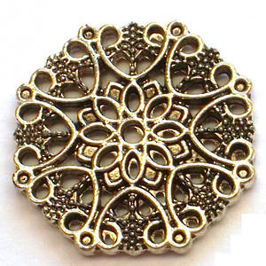 Metal Bead: Filigree disc - antique silver