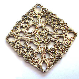 Metal Bead: Filigree square - antique silver