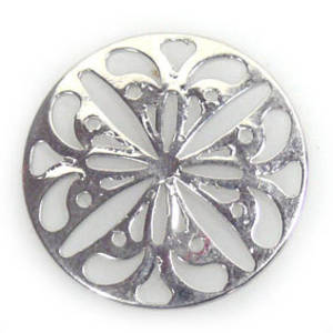 Metal Bead: Open work medallion - silver