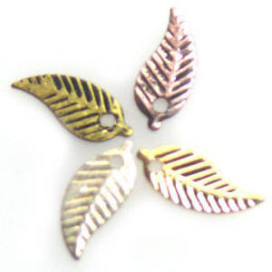 Stamped Tin Leaf: Silver Fern - silver/gold/copper/brass