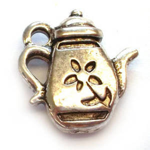 Metal Charm: Coffee Pot - antique silver