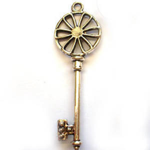 Metal Charm: Large wheel head key - antique silver