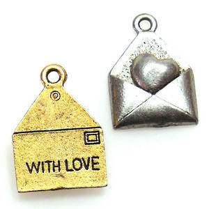 Metal Charm: 'Made With Love' envelope