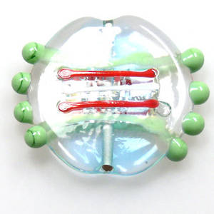 Czech Lampwork, Flat Disc Light Teal and Mint