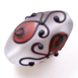 Czech Lampwork, opaque oval, amber and black decoration