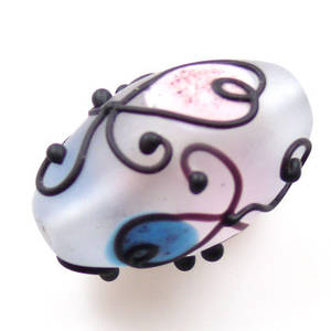 Czech Lampwork, opaque oval, pink, blue and black decoration