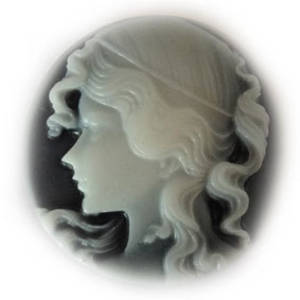 Cameo Cabochon: Black and white 30mm round, Greek style female head